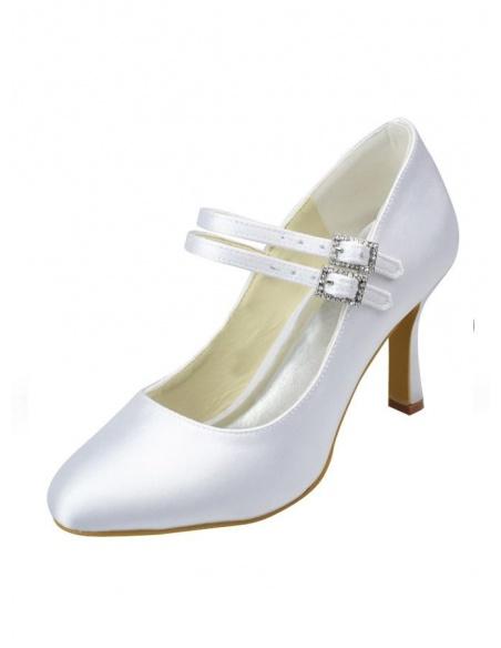 Scarpe da Sposa Semplici in raso bianco o avorio con doppio cinturino