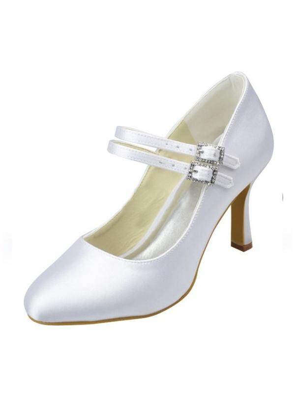 Scarpe da Sposa Semplici in raso bianco o avorio con doppio cinturino ... 976451fe233
