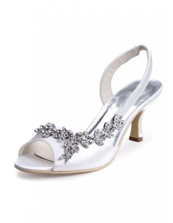 Sandales de mariée satin et strass talon bas économiques online