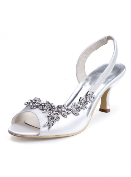 brand new 83989 fbf1d Sandali da sposa bassi economici online in raso con applicazioni argento