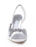 Sandali da sposa bassi economici online in raso con applicazioni argento