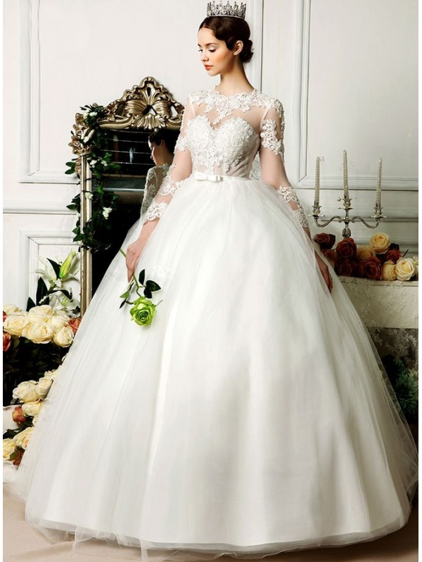 A Line Ball Gown Floor Length Tulle Low Round Scooped Neck
