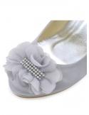 Decollete Sposa chiuse avanti con plateau e decorazione frontale in tessuto e argento