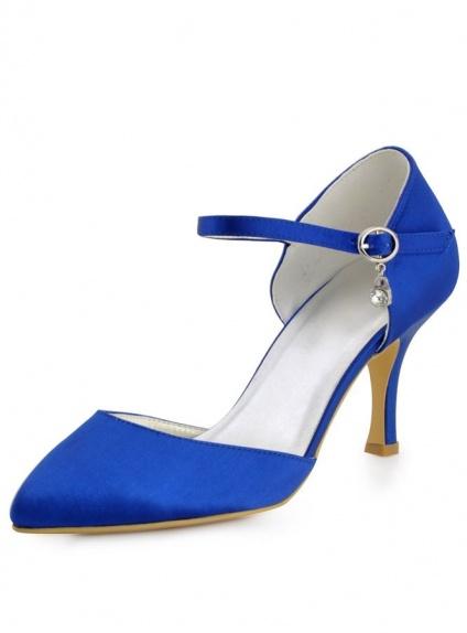 Scarpe Sposa e Cerimonia Semplici Blu o altri colori con cinturino caviglia