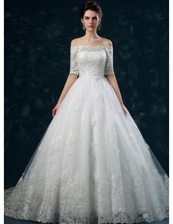 robe de mari e d collet droit jupe et corsage brod manches 3 4 tra ne. Black Bedroom Furniture Sets. Home Design Ideas