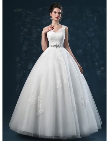 A-line Ball gown V-neck Floor length Tulle Lace Wedding dress