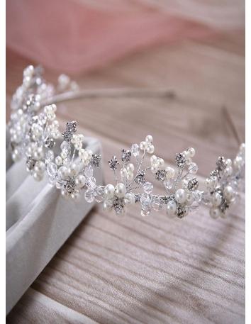 Cerchietto per capelli Sposa per Matrimonio molto luminoso con Perline e Strass