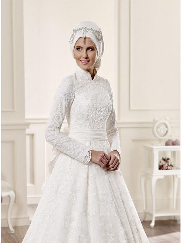 Vestito da Sposa Invernale Economico Online di pizzo con colletto e ...