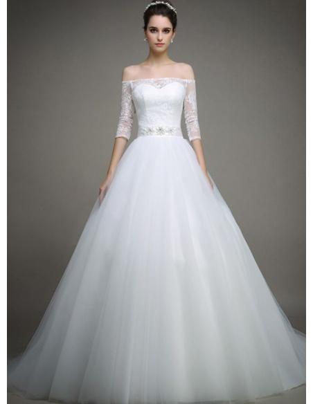 vendite all'ingrosso classico buon servizio Vestito da Sposa Classico Romantico con gonna in tulle e maniche ...