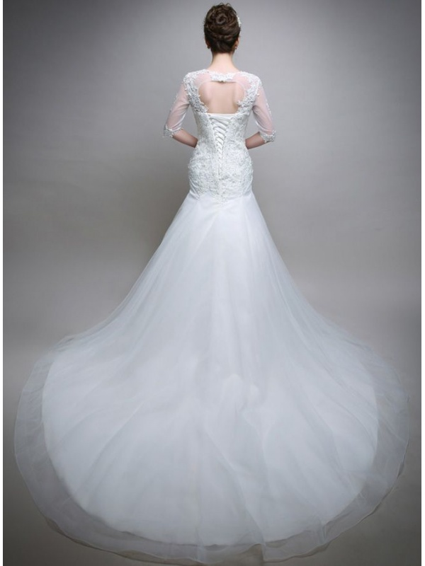 Mermaid Chapel train Tulle Square neck Wedding dress