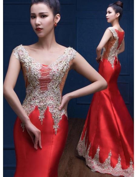 Elegant dresses Trumpet/Mermaid Chapel train Satin Low round/Scooped neck Occasion dress
