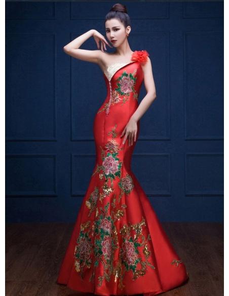 Abito da Sera elegante a Sirena rosso con ricami di rose e paillettes dorate