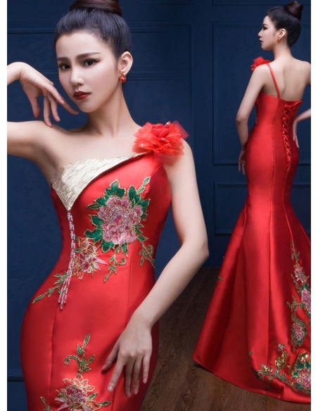Elegant dresses Trumpet/Mermaid Chapel train Satin One shoulder Occasion dress