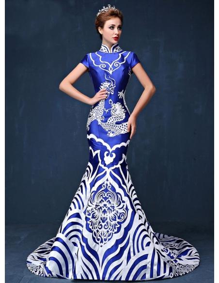Abito Lungo Elegante per occasioni speciali di Raso blu con motivo decorativo bianco