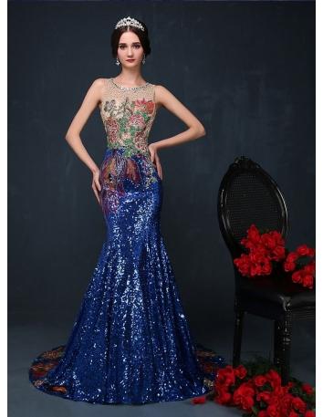 Elegant dresses Trumpet/Mermaid Chapel train Paillette Low round/Scooped neck Occasion dress