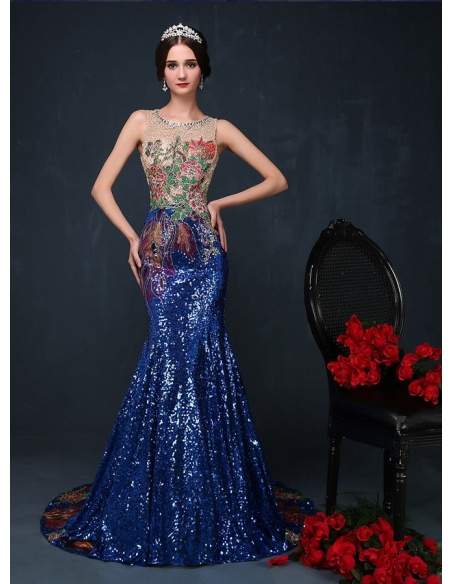 Elegant dresses Trumpet/Mermaid Chapel train Paillette Low round/Scooped neck Occasion dress