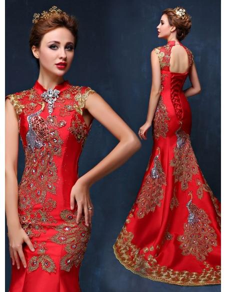 Vestito Lungo da Sera molto particolare rosso o blu con ricami dorati