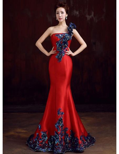 Abito da Sera elegante rosso a monospalla con applicazioni di ricami e paillettes blu