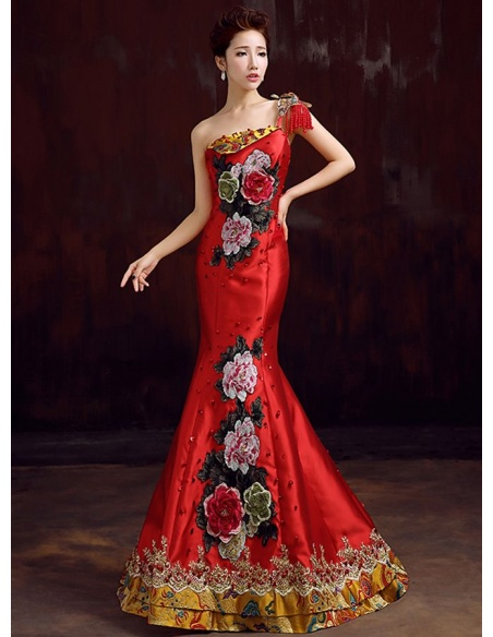 Abito da Sera particolare monospalla rosso con Rose ricamate e applicazioni dorate