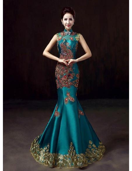 Elegant dresses Trumpet/Mermaid Chapel train Satin High round/Slash neck Occasion dress