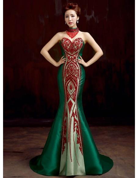 Vestito lungo da Sera per occasioni speciali con scollo a cuore di raso verde con paillettes rosse