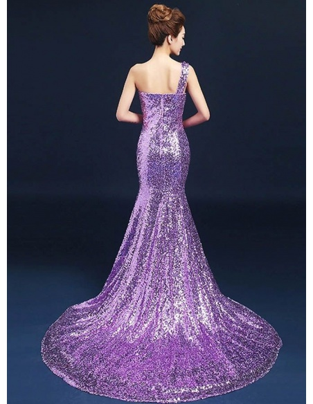 Elegant dresses Trumpet/Mermaid Chapel train Paillette One shoulder Occasion dress
