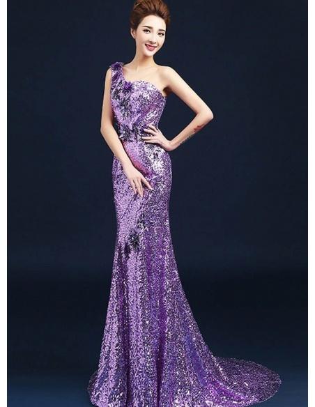 Elegant dresses Trumpet/Mermaid Chapel train Paillette One shoulder Occasion dress