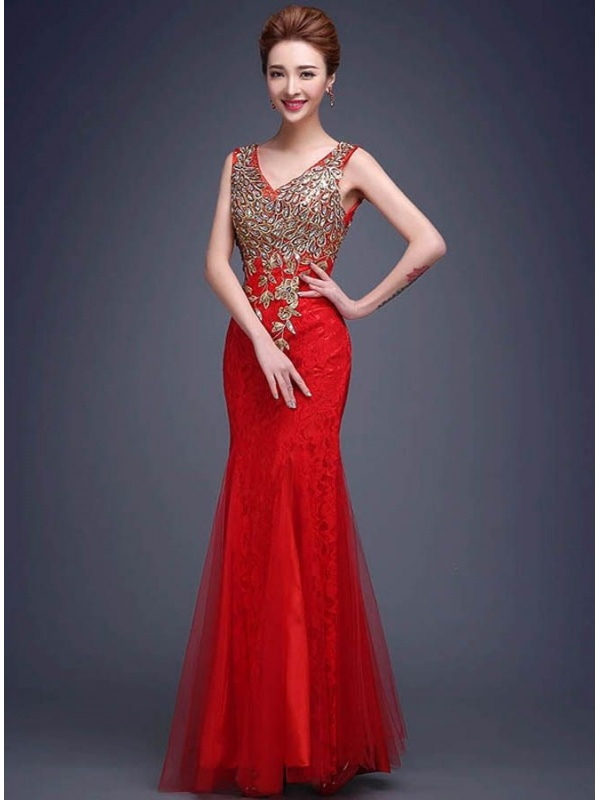 Elegant dresses Trumpet/Mermaid Floor length Lace V-neck Occasion dress