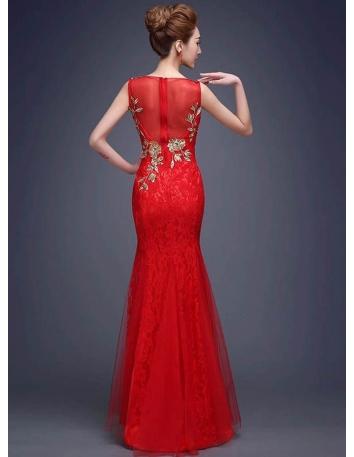 86c5169d0e35 ... Vestito da Sera elegante di Pizzo con ricami e applicazioni di pietre e  paillettes 2
