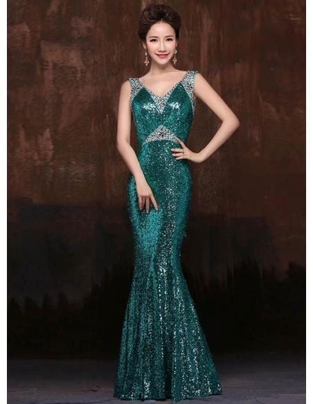 Elegant dresses Trumpet/Mermaid Floor length Paillette V-neck Occasion dress