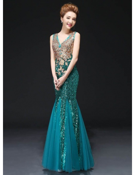 Elegant dresses Trumpet/Mermaid Floor length Paillette V-neck Occasion dress