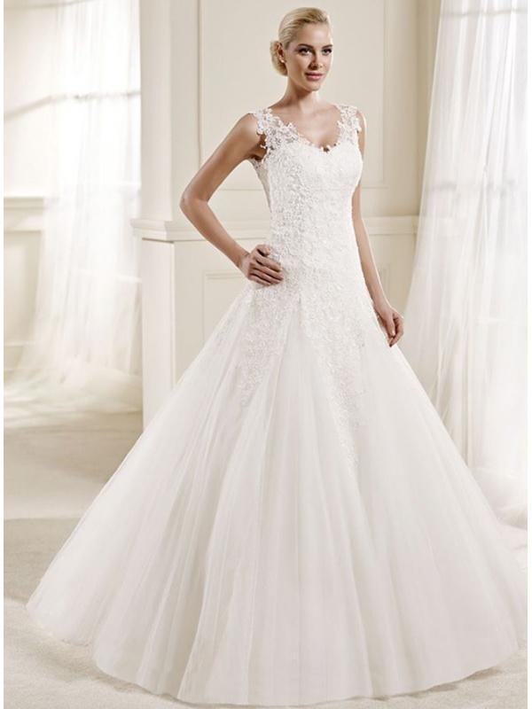 Vestito da Sposa online con scollo a V di Tulle con ricami di Pizzo e ...