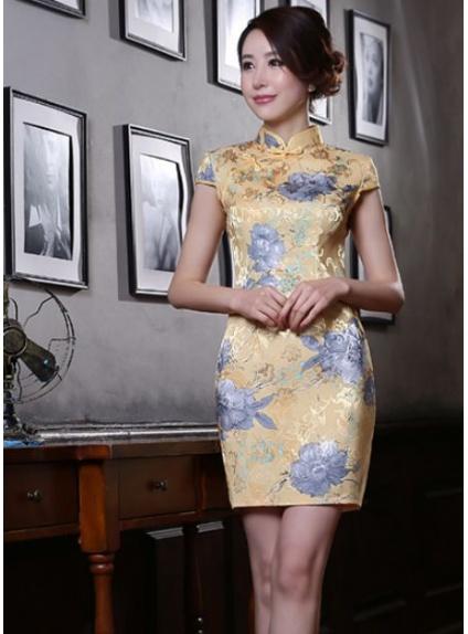 Vestiti Eleganti Cinesi.Abito Da Cerimonia Giapponese Cinese Orientale Tradizionale Giallo