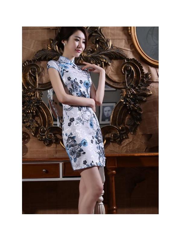 bafd227e91a2 Abito tradizionale orientale Cheongsam Qipao Online a fiori neri e blu ...