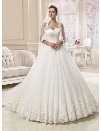 A-line Sweetheart Chapel train Tulle Wedding dress