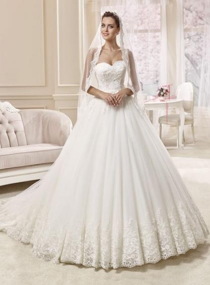 A-line Sweetheart Chapel train Tulle Wedding dress