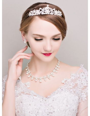 Alloy Wedding jewelry Including Necklace Earrings And Tiara