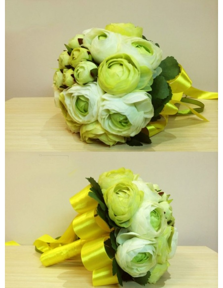 Elegant Green and white Round Artificial Silk Ribbon Wedding Bouquet
