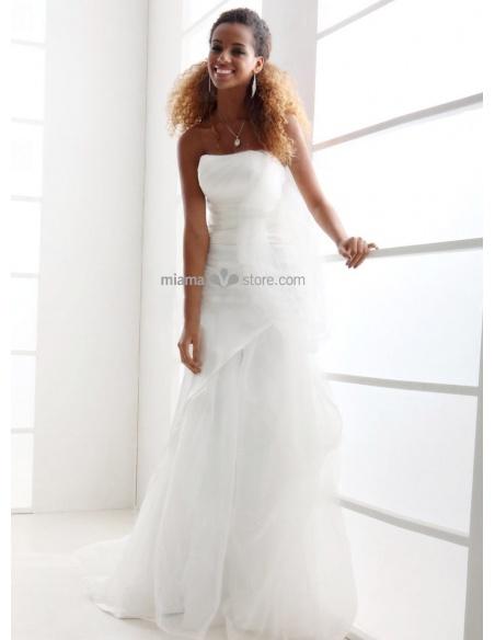 LINDA - Straples Mermaid Court train Tulle Wedding dress