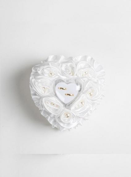Cuscino Portafedi online di raso bianco con perle