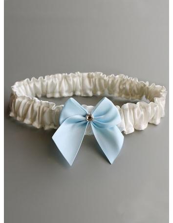 Giarrettiera Sposa avorio semplice con fiocco azzurro