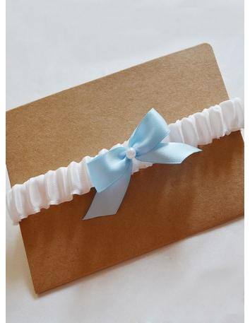 Giarrettiera Sposa avorio con fiocco azzurro