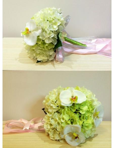 Elegant Green and white Round Artificial Silk Ribbon Wedding Bouquet