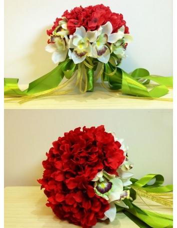 Bouquet Sposa con fiori rossi e orchidee finte