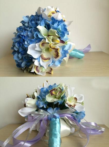 Bouquet Sposa finto con fiori blu e orchidee