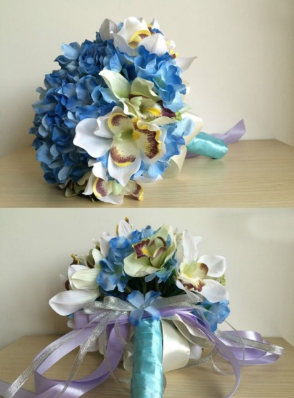 Elegant Blue and white Round Artificial Silk Ribbon Wedding Bouquet