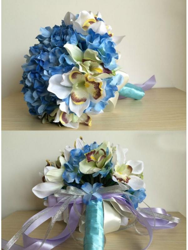 Favoloso Sposa finto con fiori blu e orchidee OG67