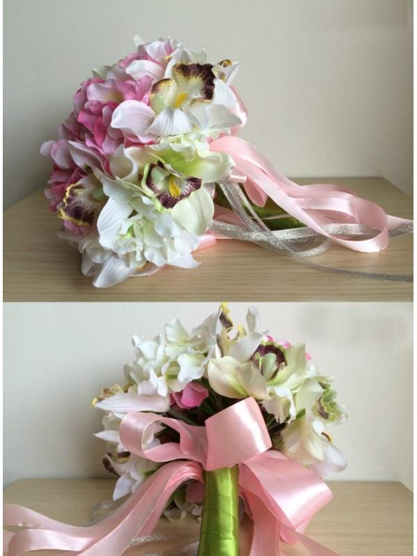 Bouquet Sposa Con Orchidee.Bouquet Sposa Finto Con Fiori Rosa E Orchidee