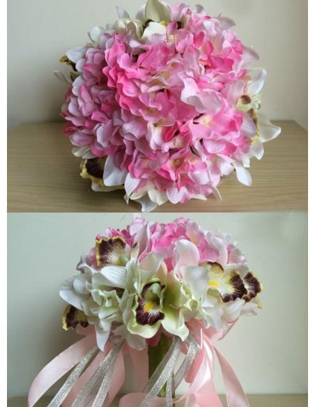 Elegant Pink and white Round Artificial Silk Ribbon Wedding Bouquet