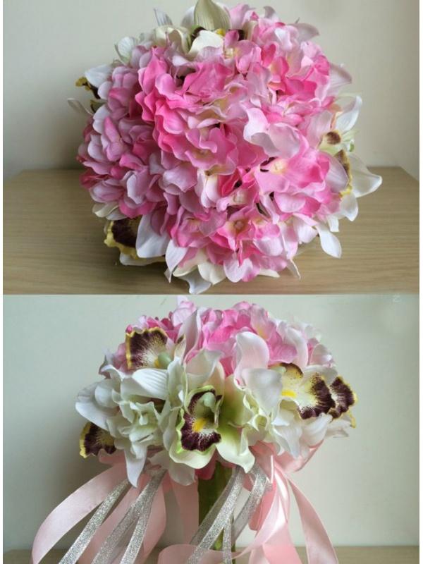 Fiori Ortensie Bianche : Bouquet sposa finto con fiori rosa e orchidee